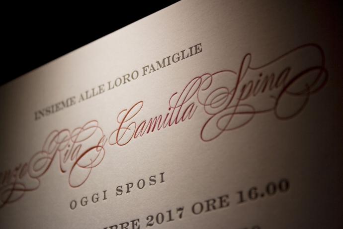Partecipazioni di nozze in letterpress per Lorenzo e Camilla