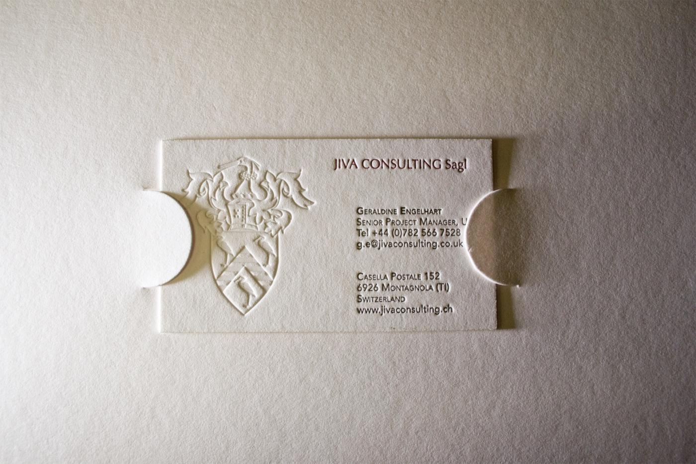Biglietto da visita in letterpress per Jiva Consulting