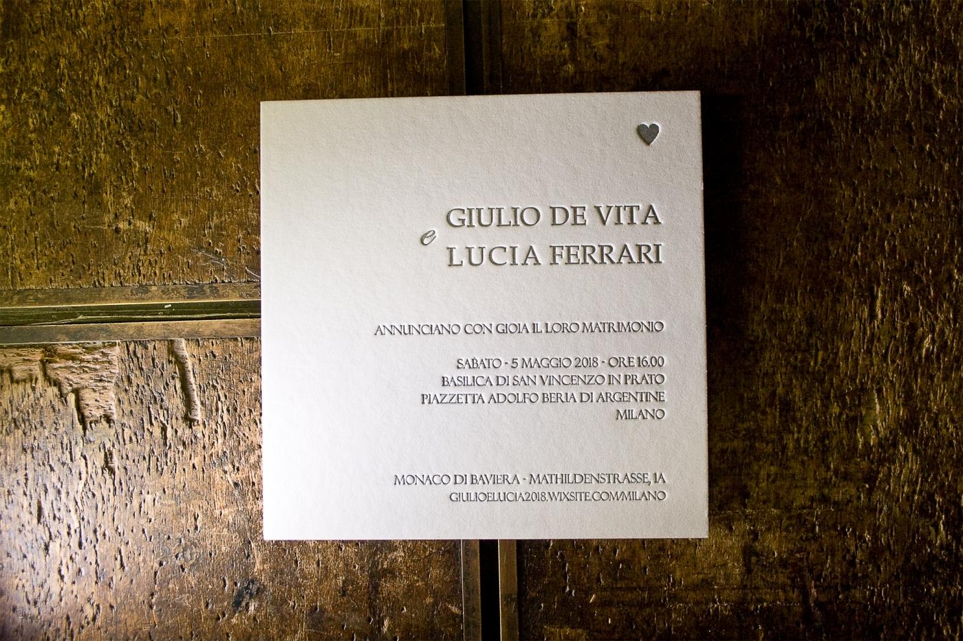 Partecipazioni di nozze in letterpress
