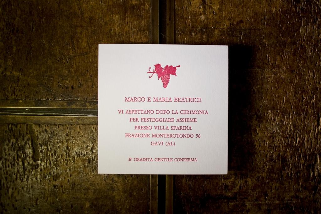 Invito alla cerimonia stampato in letterpress