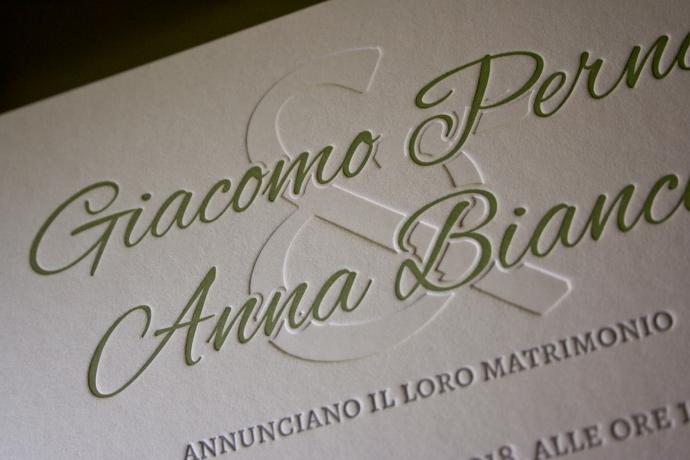 Partecipazioni di nozze di Anna e Giacomo in letterpress