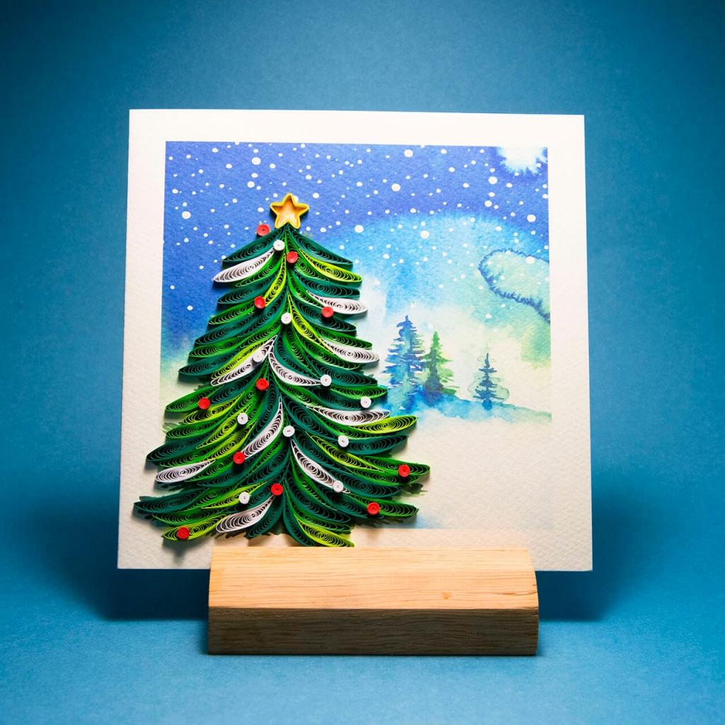 Tipografia Pezzini: biglietto pop-up di Natale in filigrana con albero