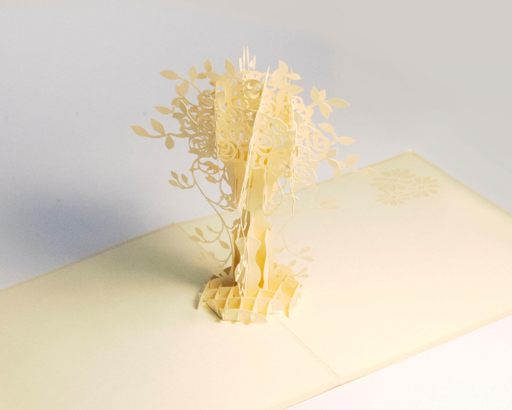 Tipografia Pezzini: biglietto pop-up origami albero della vita