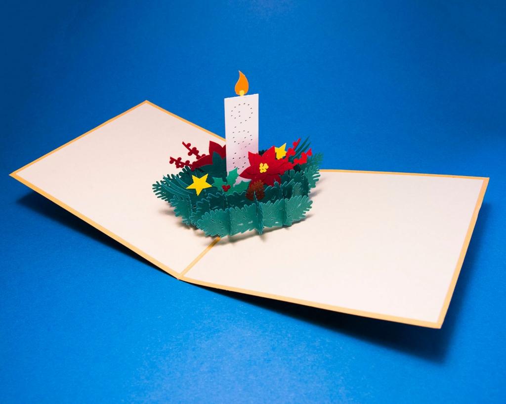 Tipografia Pezzini: biglietto pop-up origami di Natale con candela