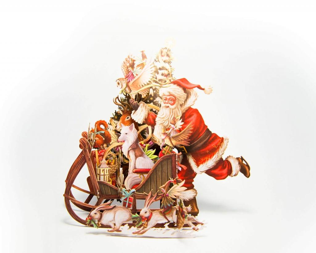 Tipografia Pezzini: biglietto pop-up tridimensionale con Babbo Natale sulla slitta